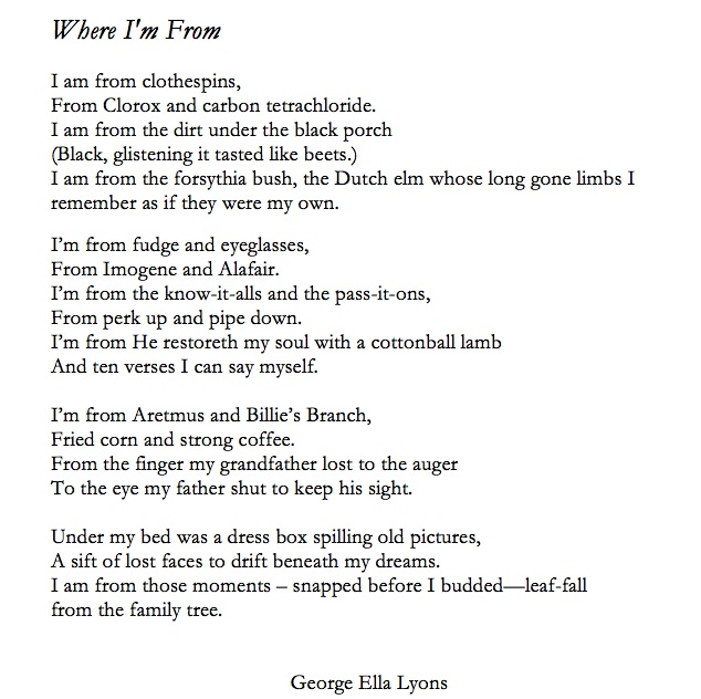 Where I'm From Poem | Come to the Water